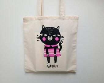 MIAUUUU CAT Tote // Screen printed Cat Tote Bag // Cat Screen Print // Shopping Bag