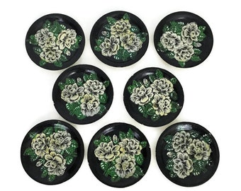 Vintage Japanese Coasters // Hand Painted Floral Coasters // Housewarming Gift