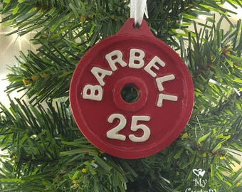 Barbell Christmas Ornament
