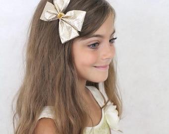 Gold Hair Bow - Sparkly Gold Hair Bow - Girls Christmas Hair Bow Gold Wedding