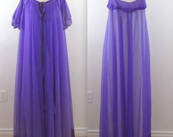 Royal Purple Chiffon Peignoir Set - Vintage 1970s Nightgown Robe Set in xLarge