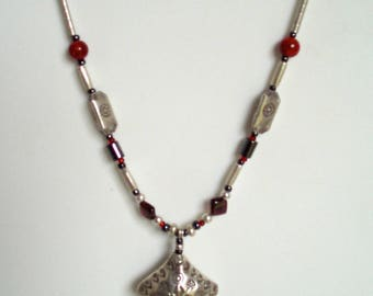 Necklace Sterling Silver 925 &  Patterned SILVER  980 Garnet  Hematite Glass Crystal Beads Lampwork