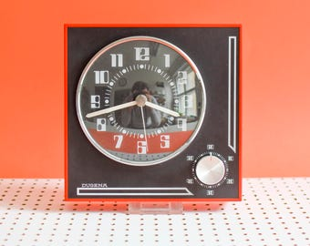 Vintage Dugena clock, Dugena wall clock, 70s clock German, red wall clock 70s Mid-Century