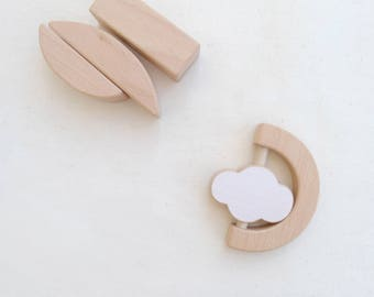Wooden baby teether & rattle - Cloud