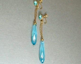 Sale Art Deco EARRINGS. Czech Glass Crystal Long Earrings, ANTIQUE Bohemian Czechoslovakia Earrings, Aquamarine Art Deco Jewelry Womens Gift
