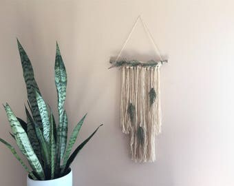 Driftwood Wall hanging green tapestry tassels decor fern leaves boho bohemian natural tribal nursery woodland Native modern gift idea