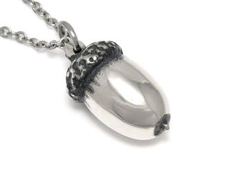 Handmade Acorn Necklace in Pewter, Oak Nut Pendant,  Pewter Jewelry