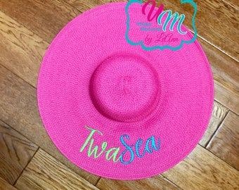"CUSTOM ""YOUR NAME"" floppy Beach Hat, Name Hat, Bride Beach hat, Personalized Floppy Hat, Embroidred floppy hat, Beach Hat, Straw floppy hat"