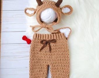 Reindeer Costume, Rudolph Costume, Reindeer Hat, Reindeer Newborn Outfit, Newborn Reindeer Hat, Baby Deer Hat, Baby Deer Outfit, Baby Gift