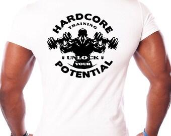 Spring Sale Mens Hardcore Barbell T Shirt - Training, Bodybuilder, Workout, Fitness, Bodybuilding, Weightlifting Gym Shirt S M L Xl Xxl 3XL