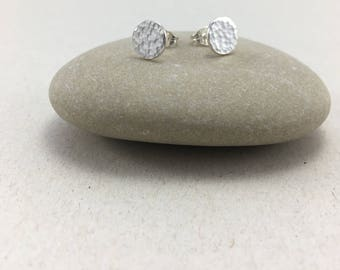 Sterling Silver Circle Hammered Earrings, Circle Hammered 8 mm Studs, Hammered Silver Round Earrings, Mini Silver Stud Earrings,