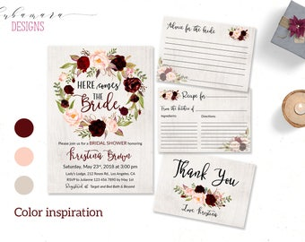 Burgundy Bridal Shower Invitation Marsala Here Comes the Bride Shower Invite Floral Spring Digital Bohemian Autumn Shower Invite - BS018