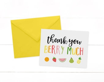 Tutti Fruitti Thank You Cards - Two-tti Frutti Thank You - Tutti Frutti Note Card - Tutti Frutti Birthday Party -  Fruit Cards -SET OF 10