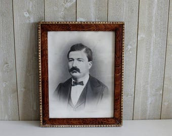 Mustache Man Framed Portrait Vintage, Framed Photograph, 1920s Wall Art Mens Portrait, Vintage Framed Portrait, French Portrait