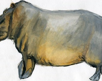 Hippopotamus on a stroll watercolor print