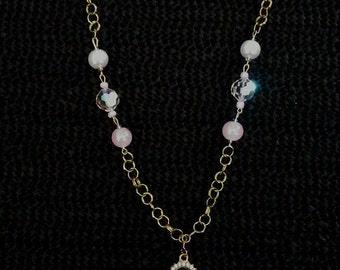 Pink cameo Y necklace