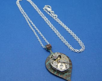 Upcycled Steampunk Watch Movement Pendant Necklace by Upcycled Elements