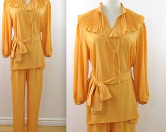 Romantic Warm Gold Pant Suit - Vintage 1970s 2 Piece Outfit in Medium Large by Mahogany