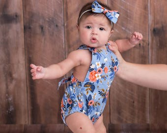 Blue Baby Romper, Crib Shoes, Baby Shoes, Hair bow, Boho, Floral, Toddler Romper, Newborn Romper, Creeper, Bohemian