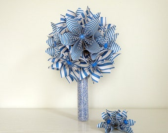 Blue origami - blue origami bouquet wedding bouquet wedding vase - origami bouquet marine style