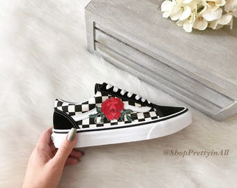 Custom Vans Old Skool Checkered, Red Rose Appliqué, Embroidered Rose