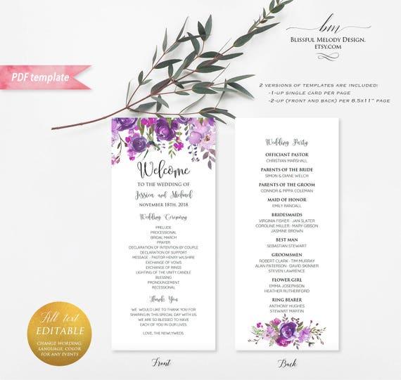 printable purple lavender floral double sided long wedding program