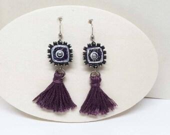 Boho Bling Tassel Paper Earrings - Plum Purple - First Anniversary - Bridesmaid