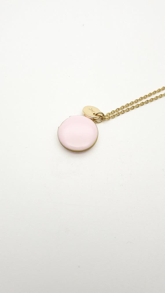 Personalized Soft pink Enamel Round Small Photo Locket Necklace with hypoallergenic gold steel chain