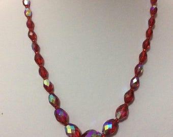 Vintage  Austrian Red Aurora Borealis Crystal necklace