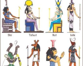 Egyptian characters Cross Stitch Pattern Egyptian pattern needlepoint korss - 276 x 260 stitches - Instant Download - B966
