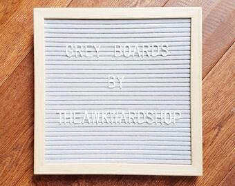 "10""x10"" Grey Felt Letter Board with Wooden Frame + Interchangable Letters"