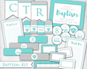 Baptism Kit - LDS Digital Printable Decor Bundle Banner Water Bottle Label Cupcake Topper Handout Grey Teal Blue Boy Girl Gender Neutral
