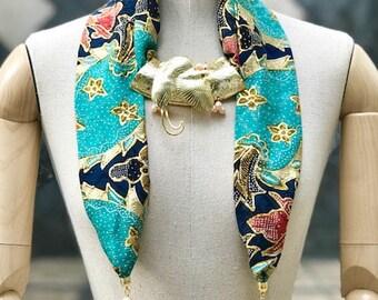 Srikandi Shawl Batik Blue Cendrawasih Gold Pearl