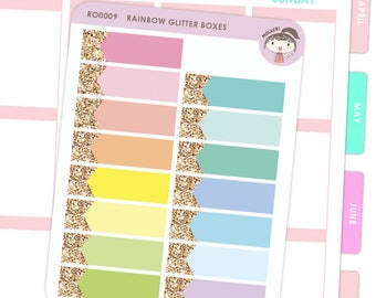 Rainbow Horizontal Box Stickers / Planner Stickers