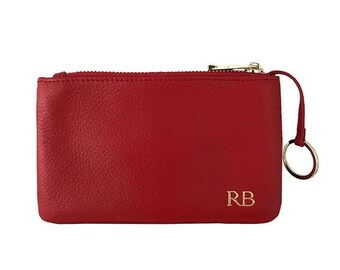 PERSONALISED MONOGRAMMED Pebbled Leather Red Coin Pouch