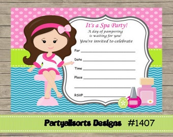 DIY - FILL IN Yourself Spa/Pamper Party childrens Birthday Invitation