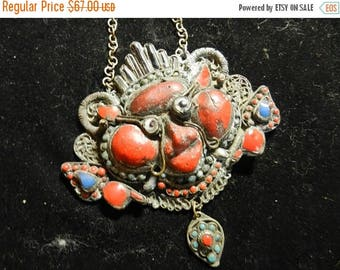 Summer Sale Large Vintage Chinese Dragon Pendant Coral Turquoise