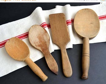 25% SALE Collection of 4 French Antique Rustic Wooden Butter Spoons Vintage Cream Ladles