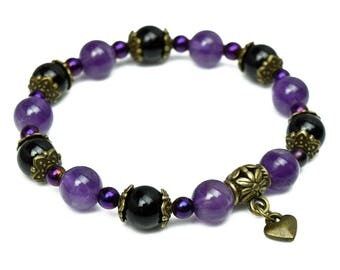 Ladies Amethyst and Black Onyx Heart Bracelet for Love and Protection | Girlfriend Gift for Her Wife Valentines Healing Gemstone Jewellery