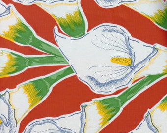 Calla Lily oilcloth by the yard