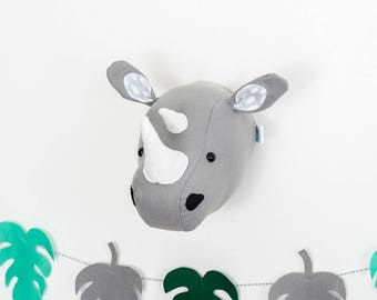 Felt rhino, rhino head, animal mount, rhino animal head, nursery decoration, nursery art, children's bedroom