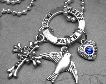 His Eye Is on the Sparrow Christian Charm Necklace with Cross Bird & Heart with Blue Crystal