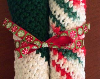 Holiday Washcloths- set of 2.  Handmade