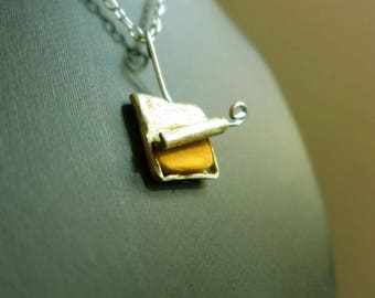 """Tin"" necklace in silver and boxwood"