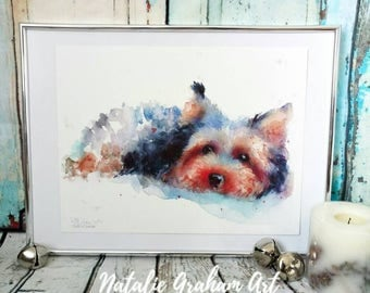 Limited edition giclee Yorkshire terrier watercolour painting print,Dog Wall Art, Home Decor, nursery wall art, yorkie terrier
