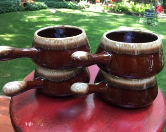 McCoy Brown Drip Soup Bowls Vintage Pottery Set of 4 Retro Kitchen Dishes Rustic Decor