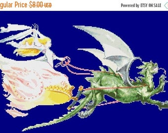 "princess Cross Stitch princess pattern dragon pattern dragon cross stitch korsstygn Wzór graficzny - 19.50"" x 11.79"" - L1455"