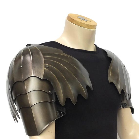 Larp Armor Gothic Winged Pauldrons, spaulders, spalders, with haute-piece
