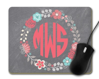 Floral Frame with Monogram Custom Printed Mouse Pad