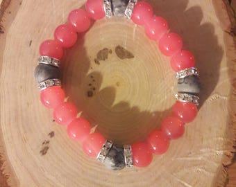 Coral & Gray beaded bracelet